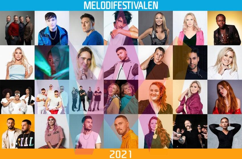 Les 28 participants au Melodifestivalen 2021